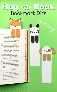 """Dog Bookmark - Cute Bookmark Ideas. Love DIY bookmarks? Looking for some cute and easy bookmark DIYs? Have a go at these """"hug a book"""" bookmark animals. They are simply adorable and quick and easy to make. We have a super cute Dog DIY Bookmark, Fox DIY Bookmark and Panda DIY Bookmark AND.... if you are VERY short for time, we have some DIY Bookmark Printables, a black & white version for coloring and a fully colored one for quick assembly! Enjoy."""