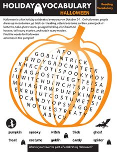 Halloween Second Grade Vocabulary Holidays Worksheets: Holiday Word Search: Halloween