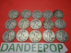 15- 1943 Walking Liberty Half Dollar 50 cent Coins Vintage Money Currency find me at www.dandeepop.com