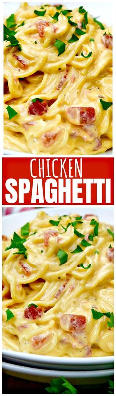 This Super Easy Chicken Spaghetti is definitely going to be a favorite at your dinner table. A few pantry staples and some leftover chicken is all you need for this fast, fabulous weeknight fare!