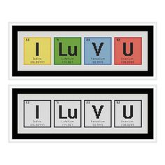 I Love You Periodic Table Chemical Element Cross Stitch Chart