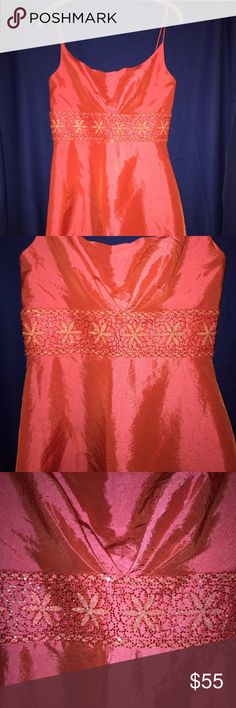 OC by OC Coral Beaded Embellished Dress Size 6 OC by OC Pink Orange Coral Spaghetti Strap Beaded Embellished Formal Dress Size 6   Features Beaded and Embellishment 100% Polyester Bubble hem New OC Dresses Prom