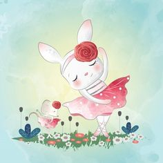 Dancing bunny with little mouse Premium Vector Cute Images, Cute Pictures, Kids Prints, Art Prints, Baby Posters, Cute Animal Illustration, Boy Character, Baby Art, Watercolor Animals