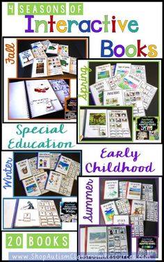 Students of all ages love these books because they can read. The promote interaction in morning meetings with special education students as well as early childhood. A bundle of 20 interactive books with pictures and words. 5 Books per season focusing on relevant vocabulary for each season.
