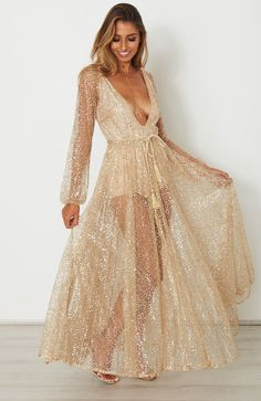 2c85cfbe Lucky Star Glitter Gown Bling Dress, Boho Dress, Sequin Dress, Chiffon Dress  Long