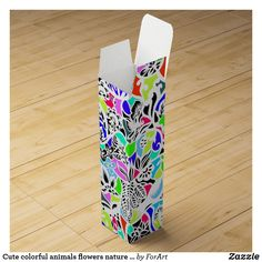 Shop Cute colorful animals flowers nature design wine gift box created by ForArt. Wine Gift Boxes, Colorful Animals, Flowers Nature, Keepsake Boxes, Cute Gifts, Design, Beautiful Gifts