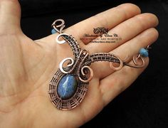 Blue Agate necklace Wire wrapped choker Wire wrap copper