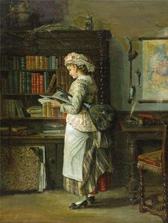 Woman Reading. John Stevens (British, c.1793-1868). Oil on canvas.In what appears to be a library in a fine house, the maid puts the feather duster under her arm and takes up reading material. There are a number of items, including the shelves of books, which can distract the woman from her day's work.