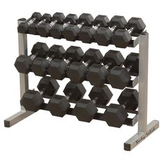 Body Solid Dumbell Rack with 5-50LB Rubber Hex Dumbell Set - (GDR363WSDRS550),