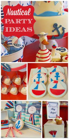 A red, white and blue Nautical birthday party with fondant topped cookies and… Boys 1st Birthday Party Ideas, 1st Boy Birthday, Sailor Party, Potluck Ideas, Sweet Tables, Baby Shawer, Nautical Party, Pirate Party, Childrens Party