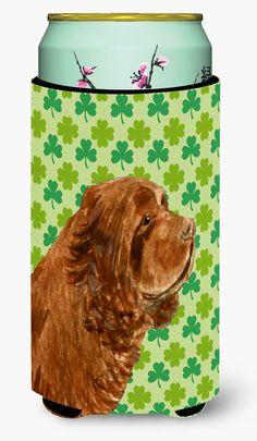 Sussex Spaniel St. Patrick's Day Shamrock Portrait Tall Boy Beverage Insulator Beverage Insulator Hugger