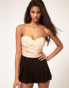 Lipsy Pretty Playsuit With Scalloped Top - Was £ 55 now £38.50