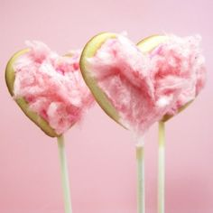 Heart Cookie Pops with Cotton Candy