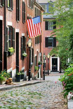 One of my favorite thoroughfares on the planet.  Acorn Street, Beacon Hill, Boston.