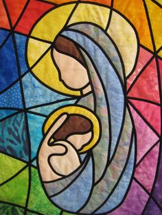 Madonna and Child Stained Glass Quilted Wall Hanging--Gorgeous! I want one for my bed, but this one's for a wall.