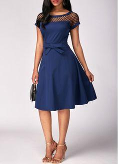 Dresses For Women Blue Dresses, Vintage Dresses, Casual Dresses, Summer Dresses, African Fashion Dresses, African Dress, Fashion Outfits, Fishnet Dress, Marine Uniform