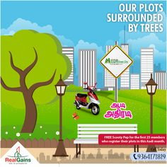 EDR Green City - DTCP approved plots near Poonamalle. Near Bangalore highway, from 6 Lakhs onwards.   Aadi Offer - FREE Scooty Pep for the first 25 members who register their plots in this Aadi month. Bank Loan available.