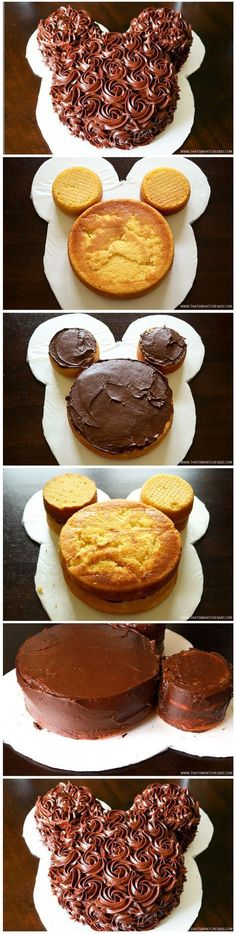 Rose Iced Mickey Mouse Cake More cake decorating recipes kuchen kindergeburtstag cakes ideas Food Cakes, Cupcake Cakes, Cupcakes Kids, Pastel Mickey, Cake Recipes, Dessert Recipes, Cute Cakes, Creative Cakes, Cakes And More