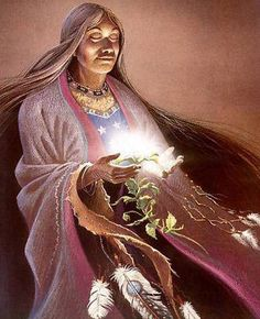 Medicine Woman // art by ? Native Indian, Native Art, American Indian Art, Native American Indians, Sacred Feminine, Goddess Art, Wise Women, Visionary Art, Wicca