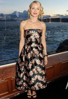 Floral tribute: Naomi Watts wears a black floral prom dress to the For The Love Of Cinema event at Hotel du Cap-Eden Roc in Antibes on Sunday night