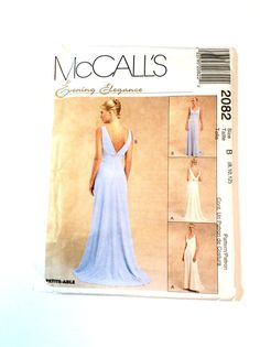 McCalls 2082 Evening Gown Pattern Wedding Gown, Bridesmaid, Prom Dress by DonnaDesigned
