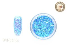 Ocean Blue Hexagon Mixed with Glitter Dust Powder / Sparkle Powder / Nail Art Craft (A24)