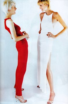 Mario Testino for American Vogue, November 1996. Dresses by Calvin Klein and Ralph Lauren.