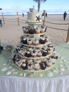 Beautiful Beach Day Wedding Cupcake