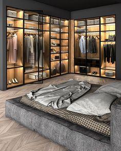 Modern Luxury Bedroom, Luxury Bedroom Design, Bedroom Closet Design, Home Room Design, Dream Home Design, Luxurious Bedrooms, Home Interior Design, Bedroom Wardrobe, Loft Design