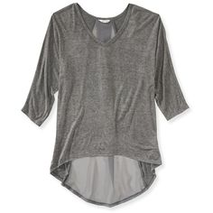 Aeropostale Dolman Sheer Back Top (70 SEK) ❤ liked on Polyvore featuring tops, charcoal heather grey, gray top, draped v neck top, grey top, aeropostale tops and v neck dolman top