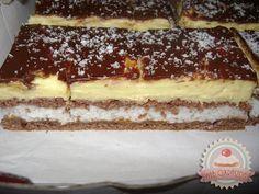 Kókusz szelet Hungarian Cake, Hungarian Recipes, Coconut Slice, Sweet And Salty, Winter Food, Cake Cookies, Tiramisu, Deserts, Food And Drink