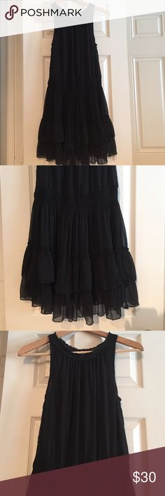 Zara Fit And Flare Party Dress Ruffles Sheer S High neck, Sleeveless, elastisized, stretch waist. Flares out to a slightly full skirt with ruffle hem. Fully lined. Sheer overlay. Raw hem at neckline. Very flirty! Mini length. Price firm. Zara Dresses Mini