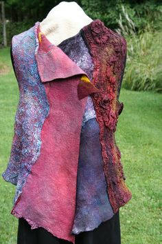 Front of short wool and silk felted tunic. Jackie Mirabel of FeltFashion.com