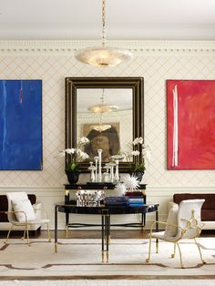What a great mix of neutral pattern and pops of vivid color. (Richard Mishaan Design, LLC)