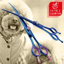 Professional Japan 440c 7.5 8.0 inch pet scissors for brand dog Grooming Blue Curved right left hand shears 15 25 degrees