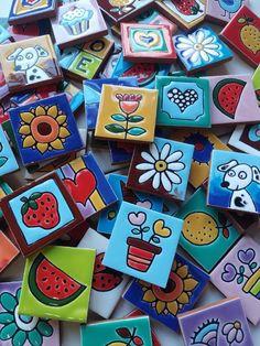 Ceramic Tile Art, Mosaic Art, Homemade Coasters, Madhubani Painting, Handmade Tiles, Painting & Drawing, Weaving, Creta, Diy Projects
