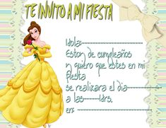 Tarjetas De Cumpleaños De Princesas Para Imprimir 11  en HD Gratis Invitation Cards, Invitations, Birthday Cards, Minnie Mouse, Birthdays, Disney Princess, Disney Characters, Children, Party
