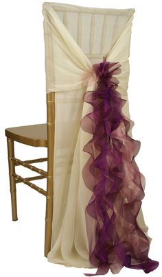 Celine Ivory Chair Sleeve with Curly Willow Eggplant Accent