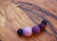 felt balls necklace ..purple...lavender ... felted merino wool beads