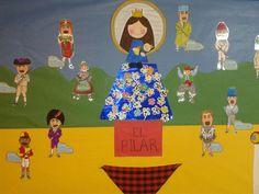 Mural Cabezudos y Virgen del Pilar