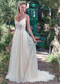 Buy discount Elegant Tulle V-neck Neckline A-line Wedding Dresses With Embroidery at Ailsabridal.com