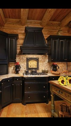 Never Thought I Would Like Black Cabinets This Has Me Thinking Log Home In Valle Crucis Featuring With Rub Through