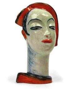 Vally Wieselthier, woman's head, Draft 1928 by the Wiener Werkstaette, ceramic