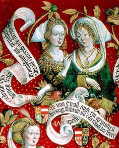 Hans Part. Agnes von Meran, Wife of Herzog Friedrichs II and Sophia von Byzanz (Babenberger Stammbaum Detail). Medieval Fashion, Medieval Art, Medieval Dress, European History, Art History, Real Online, Friedrich Ii, Alchemy Art, Empire Romain