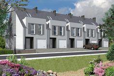 Projekt szeregówki Miltown II LMS12a o pow. 103,18 m2 z garażem 1-st., z dachem dwuspadowym, z tarasem, sprawdź! Duplex Floor Plans, Townhouse Designs, Terrace Design, House Elevation, Small House Design, Home Fashion, Sweet Home, Mansions, House Styles