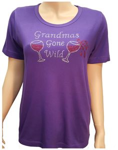 4fca9255b2f Purple bling shirt with Red Hat Ladies Grandmas Gone Wild design with red  and clear crystal