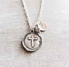 CUSTOM NECKLACE Silver Plated Necklace Trust God Cross by SAjolie