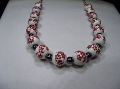 Cherry Blossom Beaded Necklace 19in by IroquoisDreams on Etsy