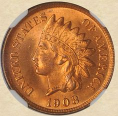 1908 Indian Head Cent obverse, beautiful!