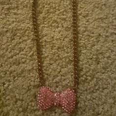 Necklace Pink bow chain choker Jewelry Necklaces